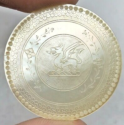 1700's Chinese Mother Of Pearl Hand Carved Gaming Chip Coin Trade Token Asian Z