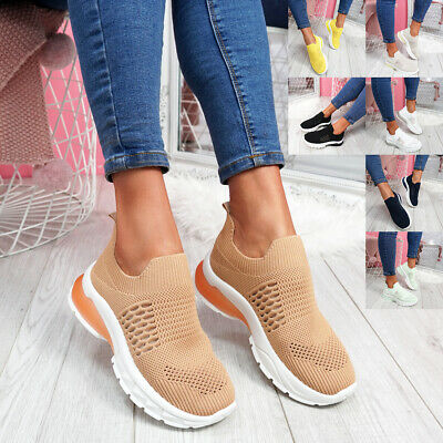 Womens Ladies Slip On Running Chunky Sole Trainers Party Sneakers Women Shoes