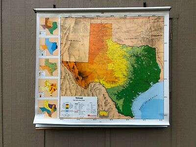 Nystrom World, United States, TX Pulldown Classroom Map - Triple Panel