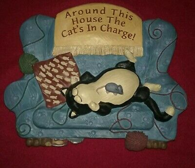 Cat's In Charge Plaque By Figi Graphics, 1996.  3D Resin.