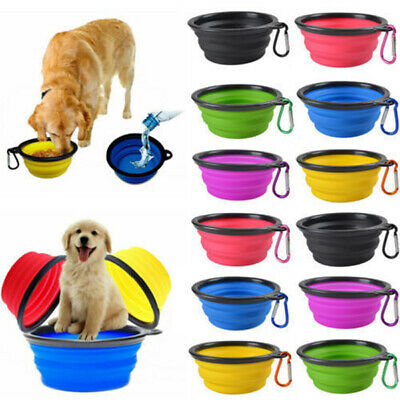 Portable Pet Dog Collapsible Travel Feeding Bowl Food Water Dish Feeder NEW