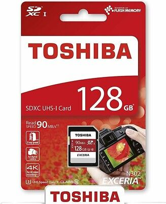 Toshiba 128GB SD Card SDHC 90MB/s UHS-I Class 10 TF Memory Card 4K For Cameras