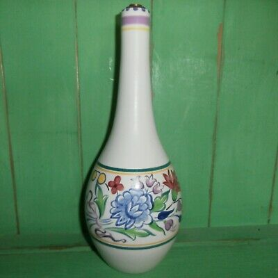 Poole Pottery Lamp Base Hand Painted Signed DM Floral Mid century  Not wired