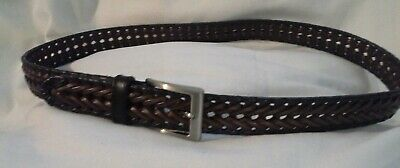 Dockers mens belt 42 inches 2 tone braided genuine leather silver buckle nice