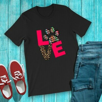 Love Paw Dog Doggy Heart Graphic Print Women's T-Shirt Top Tee Cute Colorful