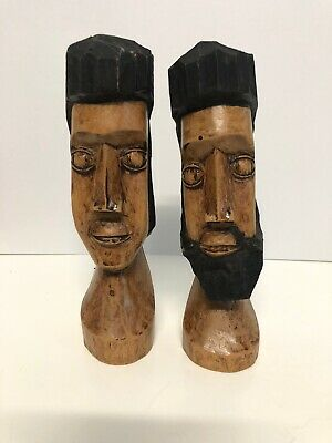 """Vintage Hand Crafted Carved Man & Woman Wooden Statues  6"""" High, Unknown Origin"""