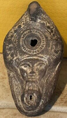 Ancient Greek Style Oil Lamp Depicting Hathor