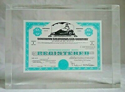 "Vintage So. Cal Gas Co. 3 1/8"" x 2 7/8"" x 1"" Lucite Paperweight Certificate  L20"