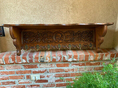 Antique French Country Carved Oak Wall Shelf Coat Hat Plate Rack BRASS Warrior