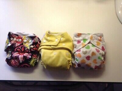 Lot Of Three Cloth Diapers Yellow With Insert Liners, Girls
