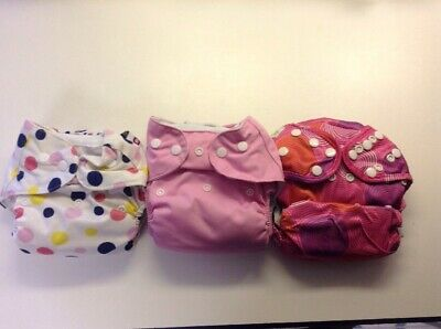 Lot Of Three Cloth Diapers Pink With Insert Liners, Girls