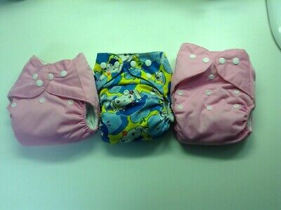 Lot Of Three Cloth Diapers Pink Pink Pink With Insert Liners, Girls