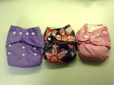 Lot Of Three Cloth Diapers Flowers/Pink/Purple With Insert Liners, Girls