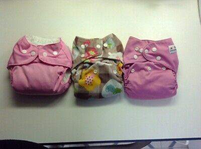 Lot Of Three Cloth Diapers Pink Pink With Insert Liners, Girls