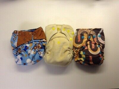 Lot Of Three Cloth Diapers Monkeys With Insert Liners, Generic