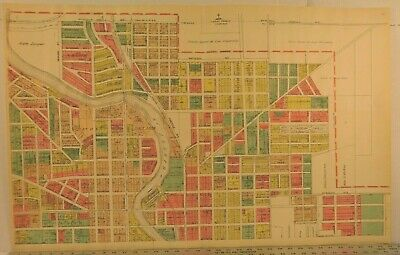 Antique Original Map 1923 South Bend Indiana Leeper Park Notre Dame 24x37