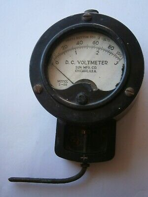 Vintage Voltmeter d.c. volt meter measure sun mfg co USA Chicago model s-118