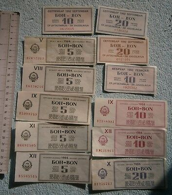1992 YUGOSLAVIA SERBIA SANCTIONS LOT VOUCHER COUPON GAS PETROL diesel fuel 1984