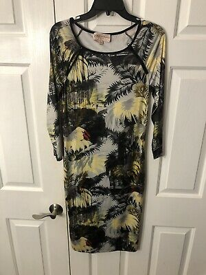 Philosophy Women Dress size M Republic Clothing  Tropical Palm Tree City Print