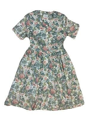 Katies Size 18 Vintage Floral Button Front Tie Pleated Short Sleeve Sun Dress