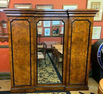 Victorian Figured Walnut Inverted Breakfront Triple Wardrobe