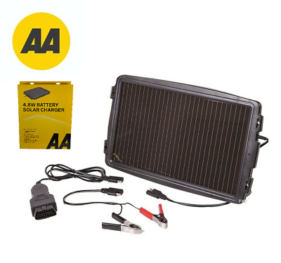 AA 4.8W 12V Solar Powered Car Caravan Camper Battery Charger Solar Panel OBD