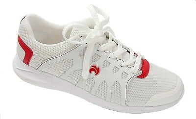MENS HENSELITE HM71 BOWLS SHOES - WHITE with RED TRIM - CLEARANCE SALE