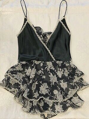 Womens Circa Black White Floral Lingerie Size S Small Nightie Nightgown