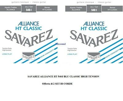 SAVAREZ ALLIANCE HT 540J BLU 2 SET DI CORDE CHITARRA CLASSICA HIGH TENSION new