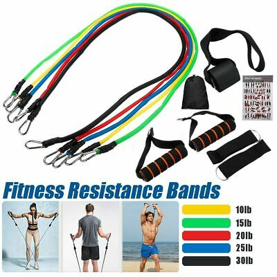11pcs Resistance Bands Set Exercise Yoga Fitness Tubes Workout Training CrossFit