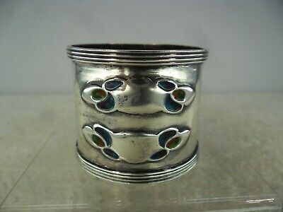 Archibald Knox for Liberty & Co Solid Silver Enamel Napkin Ring, B'ham 1903