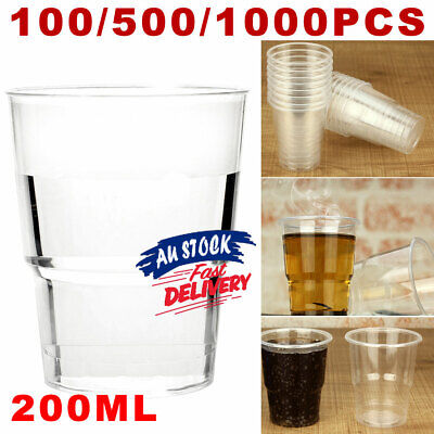 200ml Party Clear Reusable BULK Drinking White Plastic Cups  Water Cup ACB#