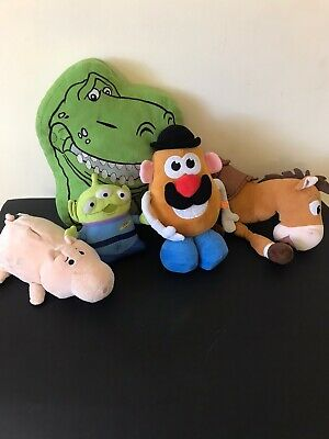 5 x TOY STORY SOFT PLUSH BUNDLE REX BULLSEYE ALIEN MR POTATO HEAD & HAMM