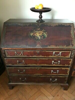 Magnificent! 18th Century Original Bureau/ Desk/ Secretaire  Hand Painted