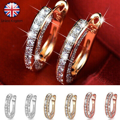 UK Fashion Women Silver Rose Gold Crystal Earrings Charm Round Stud Hoop Jewelry