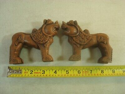 Vtg Carved Wood* Oriental Asian Wooden Foo Lion Dog Guardian MALE/FEMALE PAIR