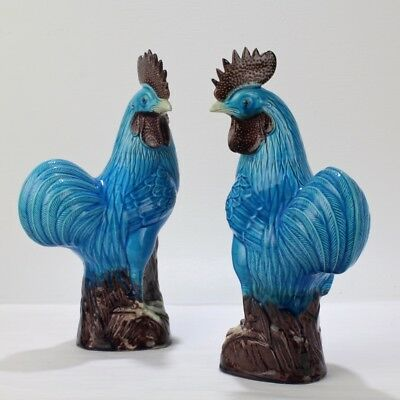 Pair (2) Old or Antique Blue Chinese Pottery Rooster or Cockerel Figurines - PC