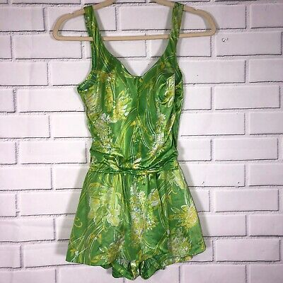 Vintage 1950s JANTZEN Green Yellow Floral One Piece Swimsuit Sz M Shorts