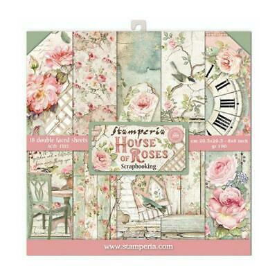 "Stamperia House of Roses 8"" x 8"" Scrapbook Papers 2020 Release"