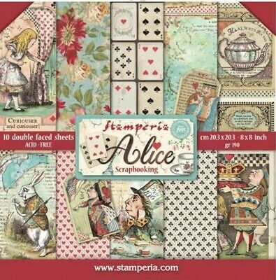 "Stamperia Alice 8"" x 8"" Scrapbook Papers"