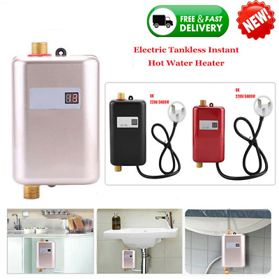 Electric Tankless Instant Hot Water Heater Under Sink Tap Kitchen Bathroom 3400W