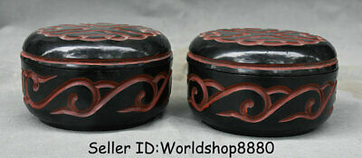 "4.4""Qianlong Marked Old China Qing Lacquerware Dynasty Flower Pot Jar Crock Pair"