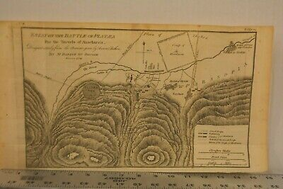 Antique 1795 Copper Plate Map Of Ancient Greece Battle Plataea 8x16 Inches