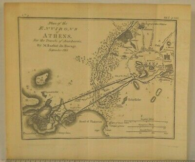 Antique 1795 Copper Plate Engraving Map Of Ancient Athens Greece 8x9 Inches