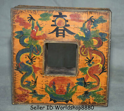 """7.4"""" Antique Old Chinese Bronze Painting Dynasty Palace Dragon Storage Box Boxes"""