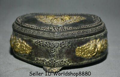 """4.2"""" Old Chinese Bronze Gilt Dynasty Flower heart-shaped Jewelry box jewel case"""