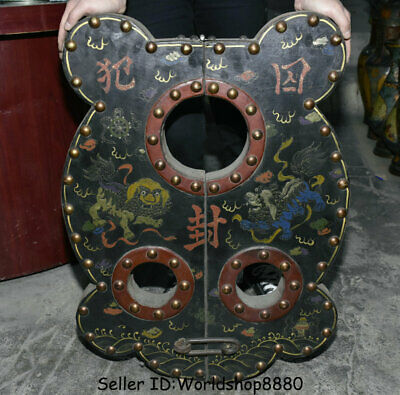 "27.2"" Ancient China Wood Lacquerware Painting Fu Dog Lion Splint yoke shackle"