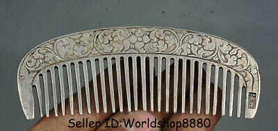 """4"""" Collect Rare Old Chinese Miao Silver Dynasty Flower comb tangle teezer A1"""