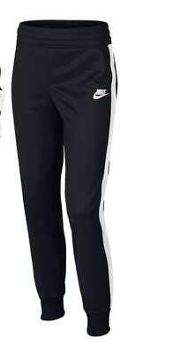 NIKE Warm Up Tracksuit Bottoms Black/White Girls Size UK 8-10 Years *REF160