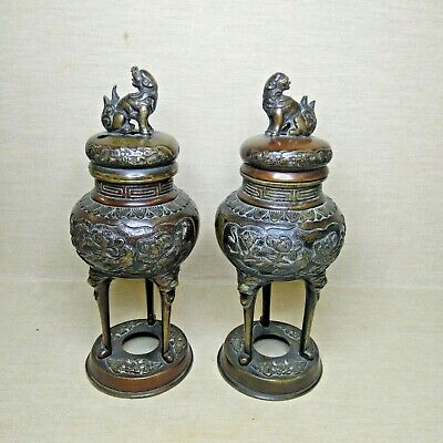 Antique A pair of  Chinese bronze censers. 19th-20th century.